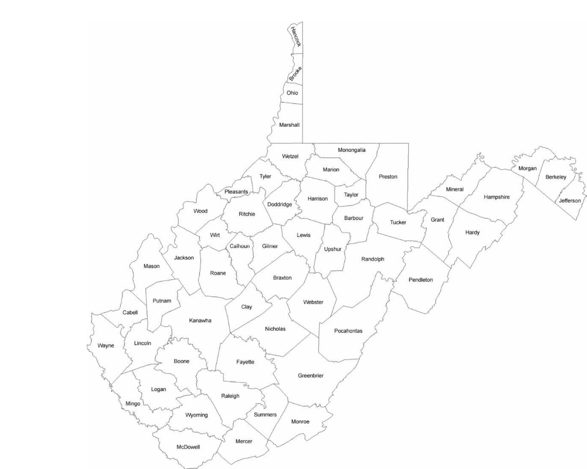 West Virginia County Map With County Names Free Download