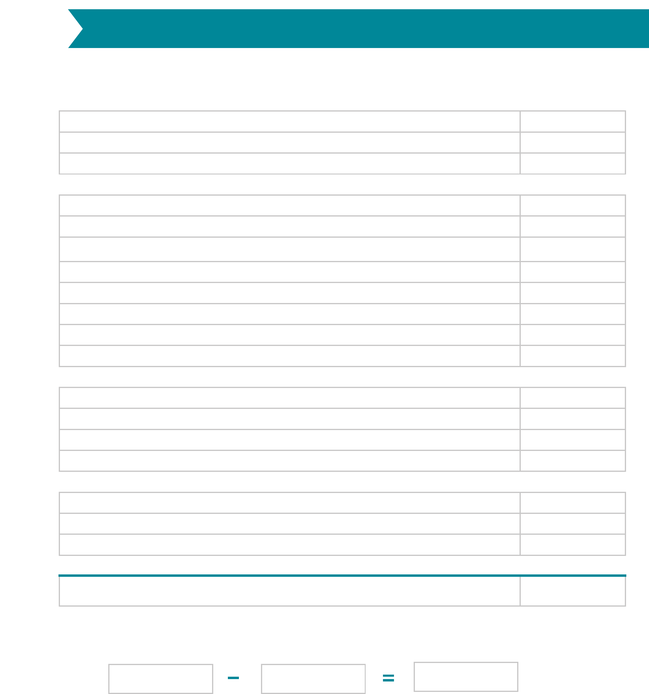 Monthly Budget Worksheet Free Download