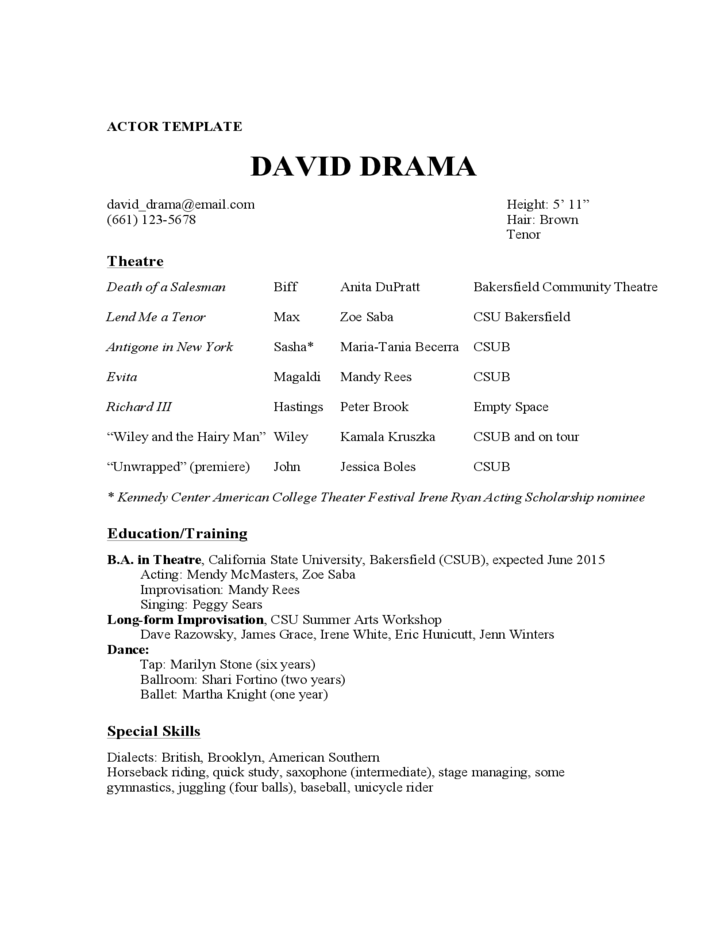 Acting Resume Sample. Acting Resume Example Free Download. On