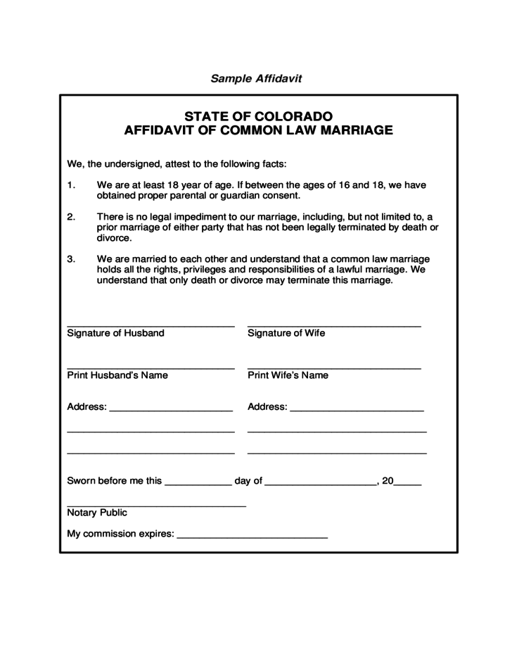 State Of Colorado Affidavit Of Common Law Marriage Free Download