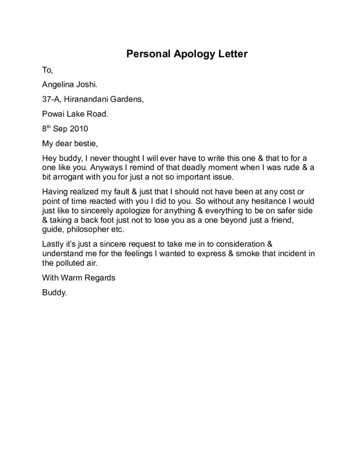 Letter Of Personal Apology. Apology Letter Templates For Word,How