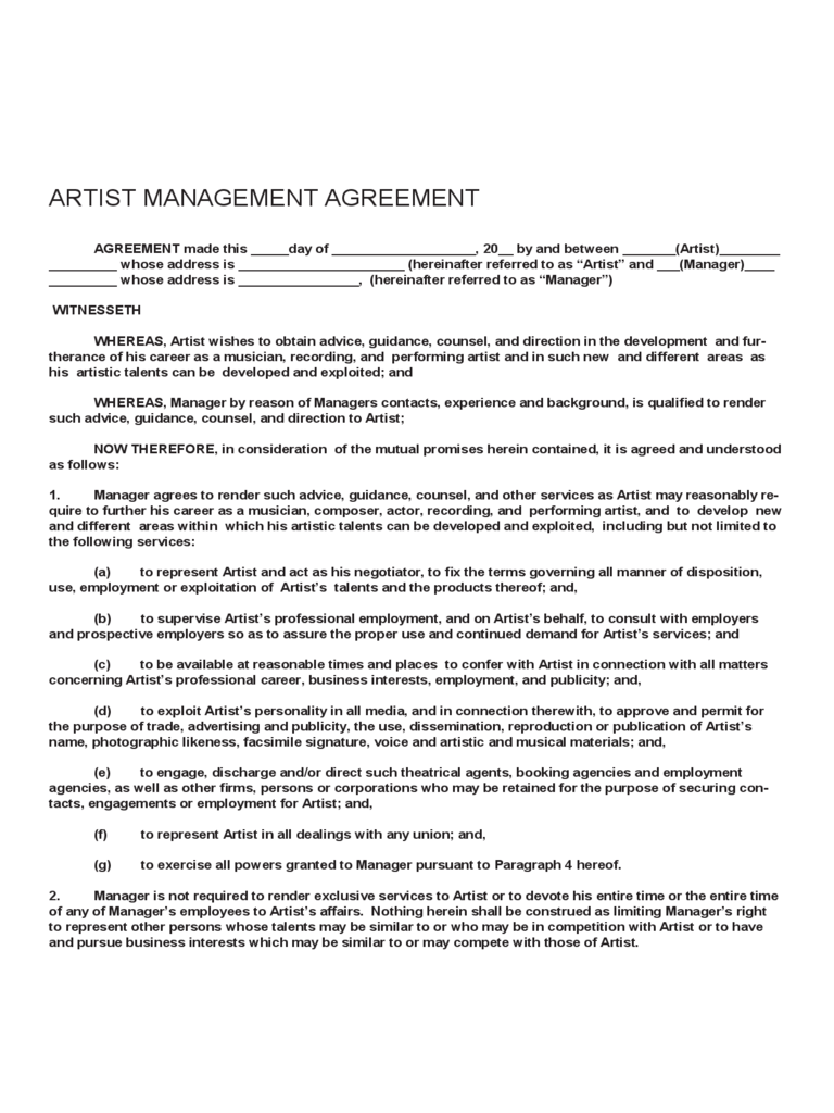 Artist Contract Template. best photos of artist contract agreement ...