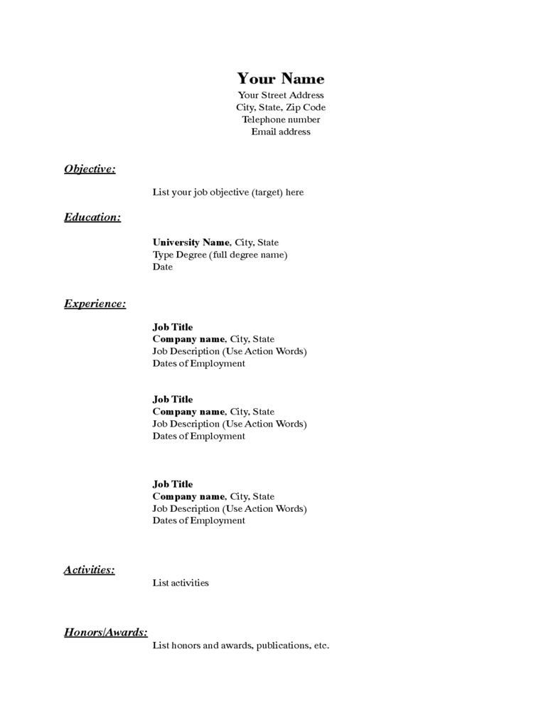 basic resume template 5 free templates in pdf word excel download sample of basic resume