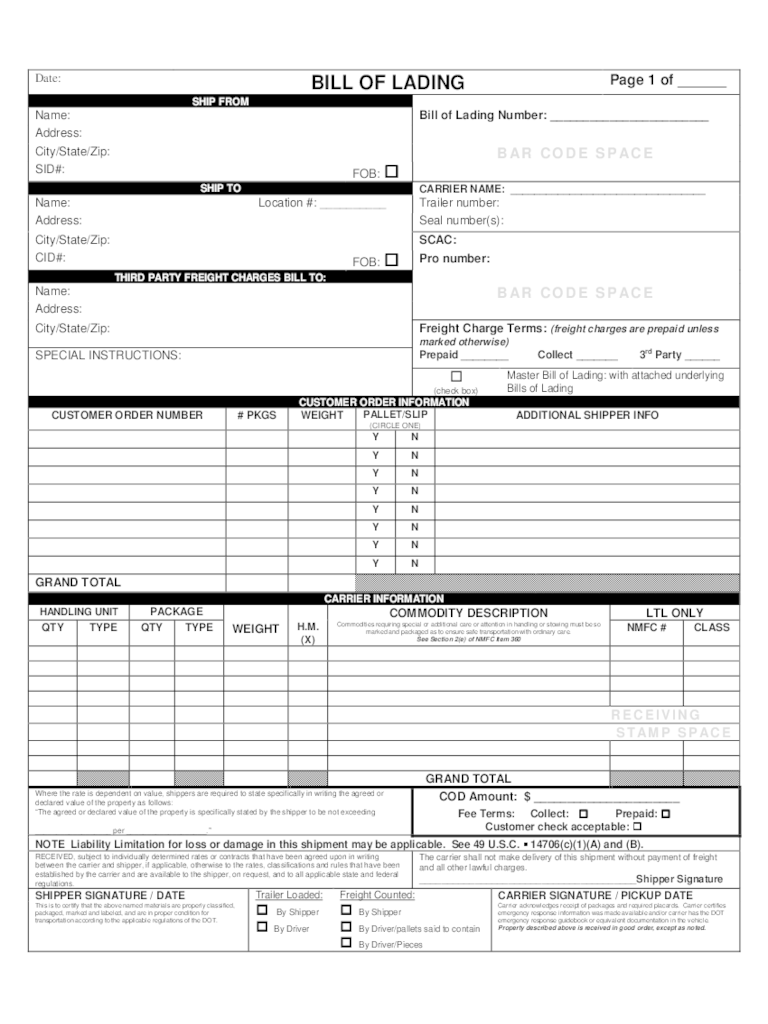 Blank Bol Template bill of lading template word bill of lading – Blank Bill of Lading Template