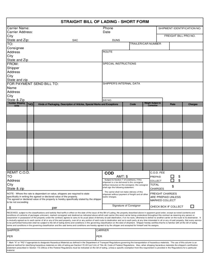 Bill Of Lading Templates bill of lading template out of darkness – Simple Bill of Lading