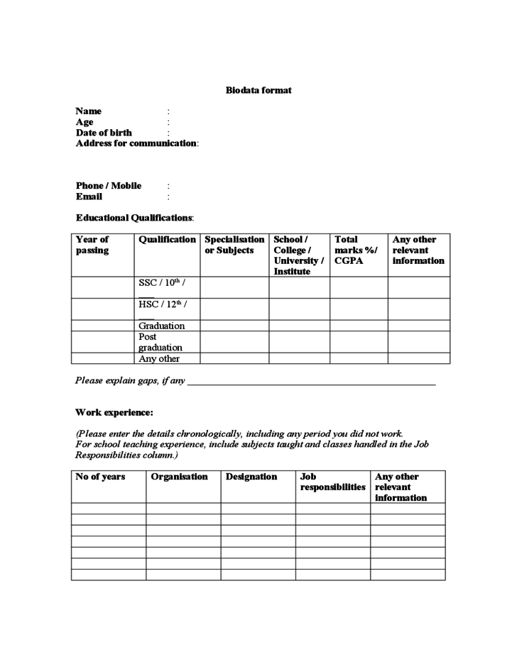 bio data resume form simple resume format for freshers simple