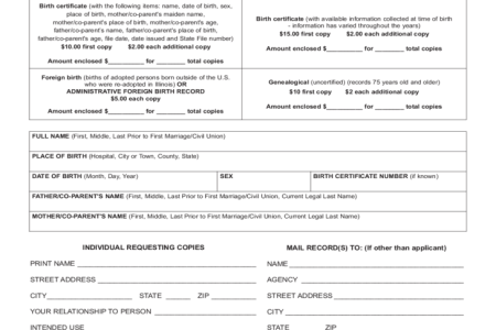 illinois department of vital records birth certificate » Free ...