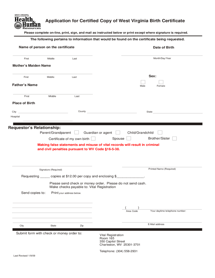 West Virginia Birth Certificate Forms