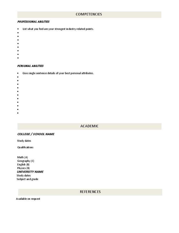 Resume Format Fill Out. Sample Forms Fill Blank Templates Free