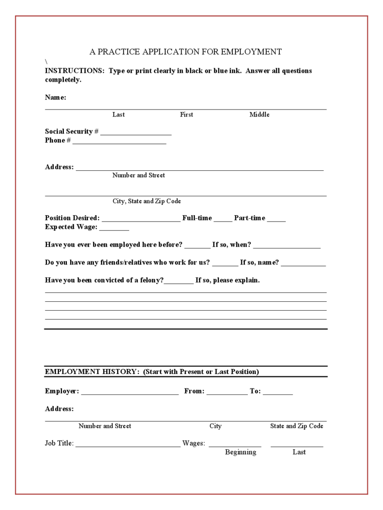 Blank Job Application Form 5 Free Templates In Pdf Word