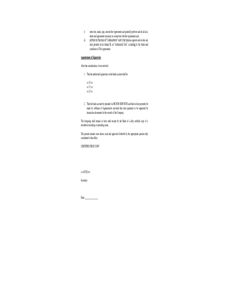 Delighted Board Resolution Template Photos - Example Resume and ...