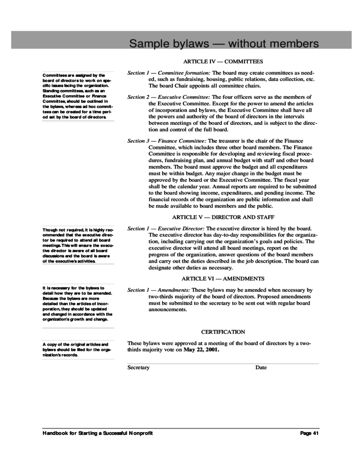 Nonprofit Bylaws Template sample bylaws without members free – Free Articles of Incorporation Template