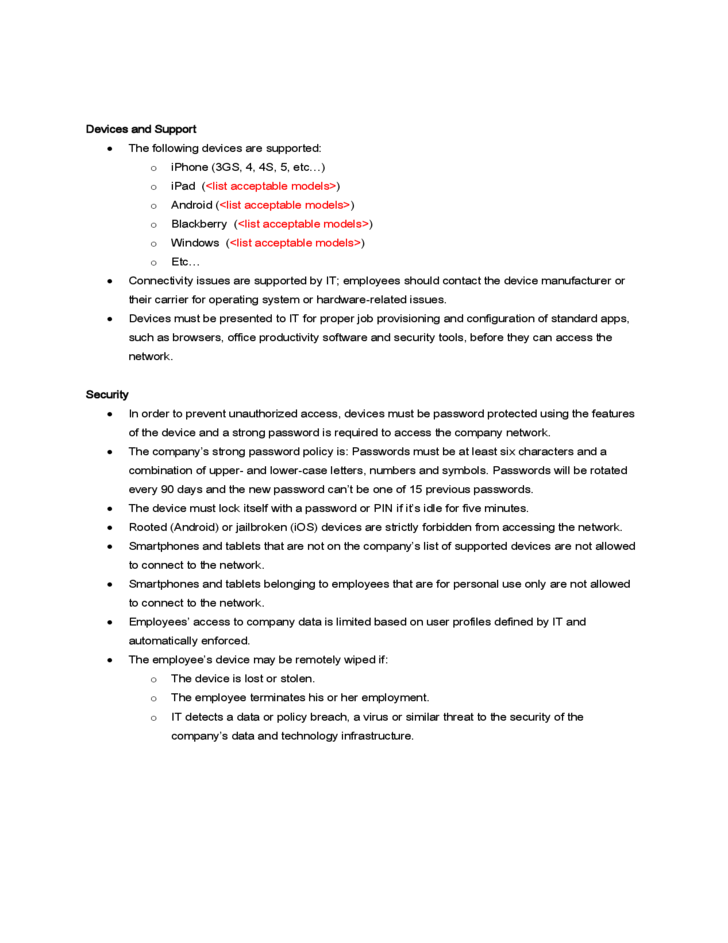 Data Policy Security Template Sample