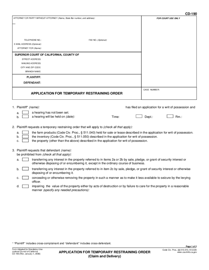 California Restraining Order Forms
