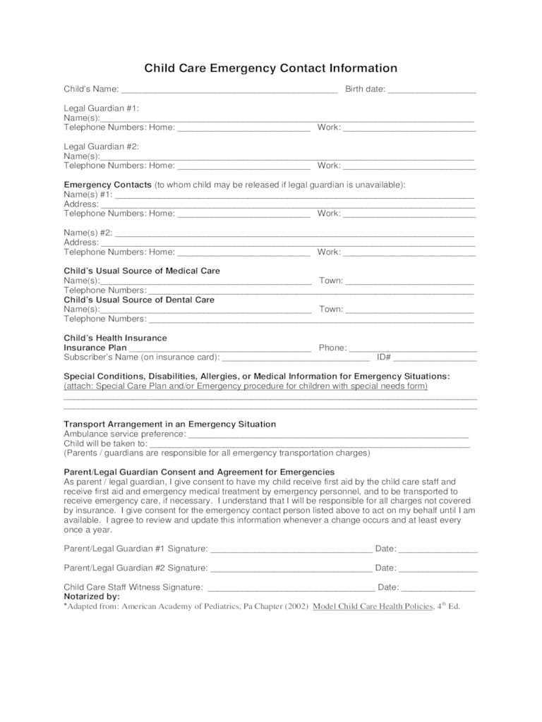 Emergency Contact Form Template printable emergency contact – Contact Information Template Word