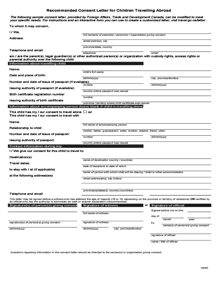 Child travel consent form usa – Child Travel Consent Form Usa
