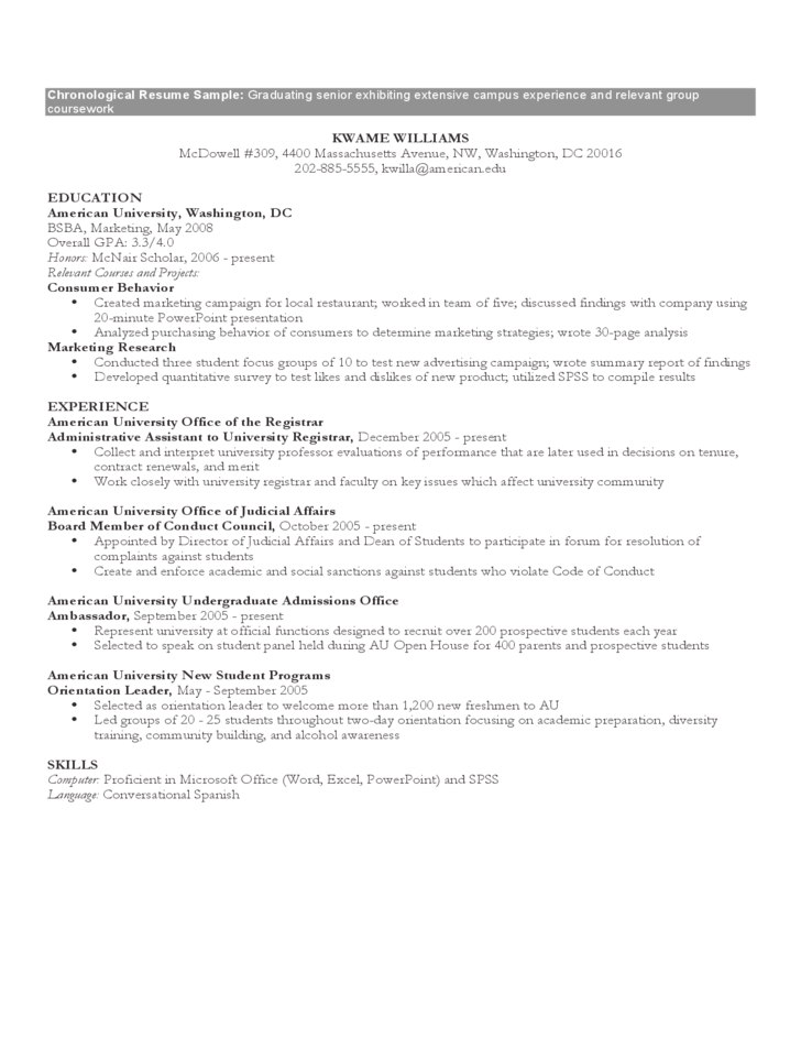 Example Of Chronological Resume. Chronological Resume Template 25