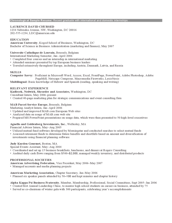 Example Of A Chronological Resume Format. Sample Chronological