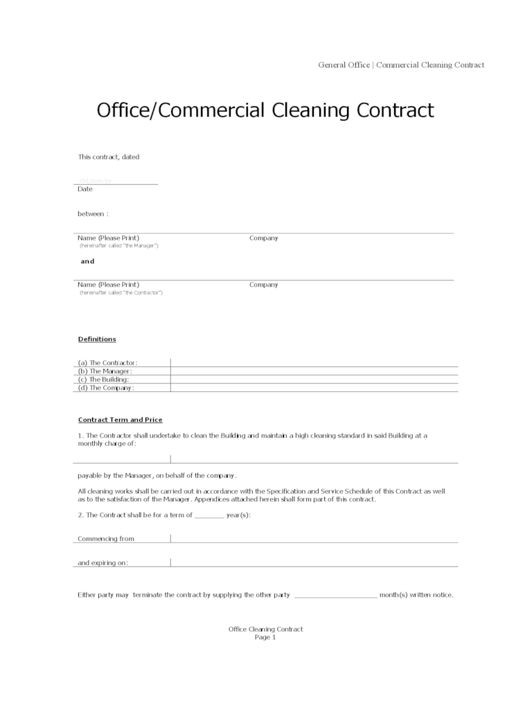Janitorial Cleaning Proposal Templates