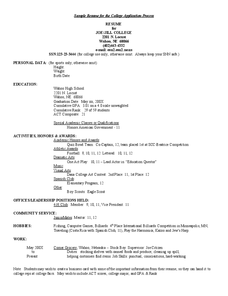 Student Resume For College Application. Sample College Application
