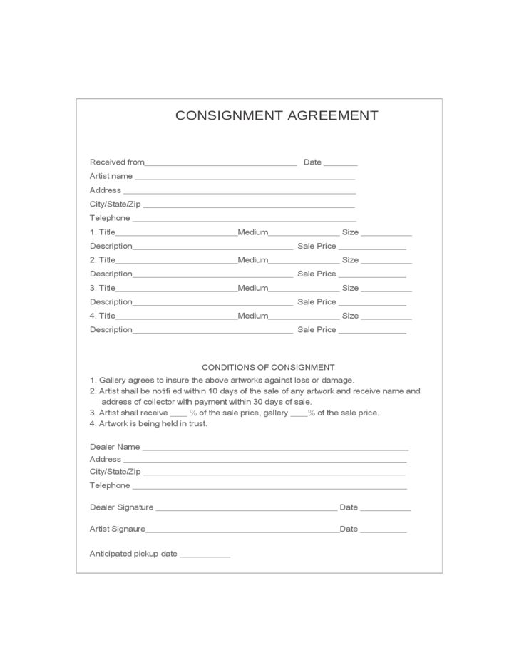 Consignment Agreement Free Download