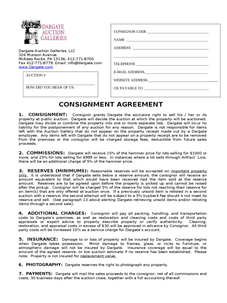consignment agreement 10 download documents in pdf word – Consignment Agreement Format