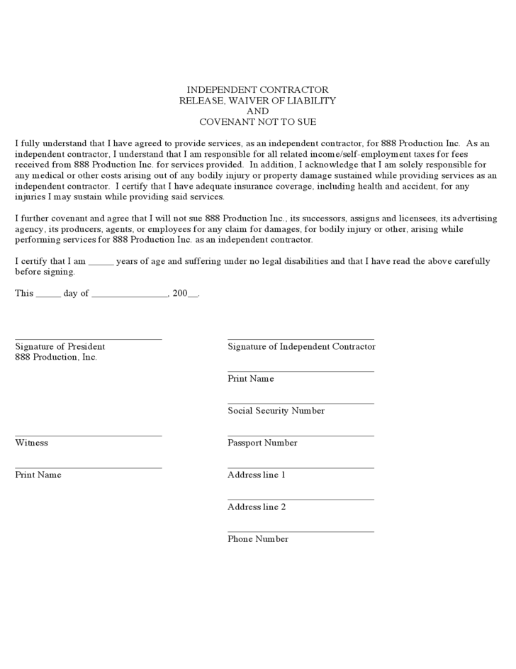 Waiver Template For Liability liability waiver form pdf templates