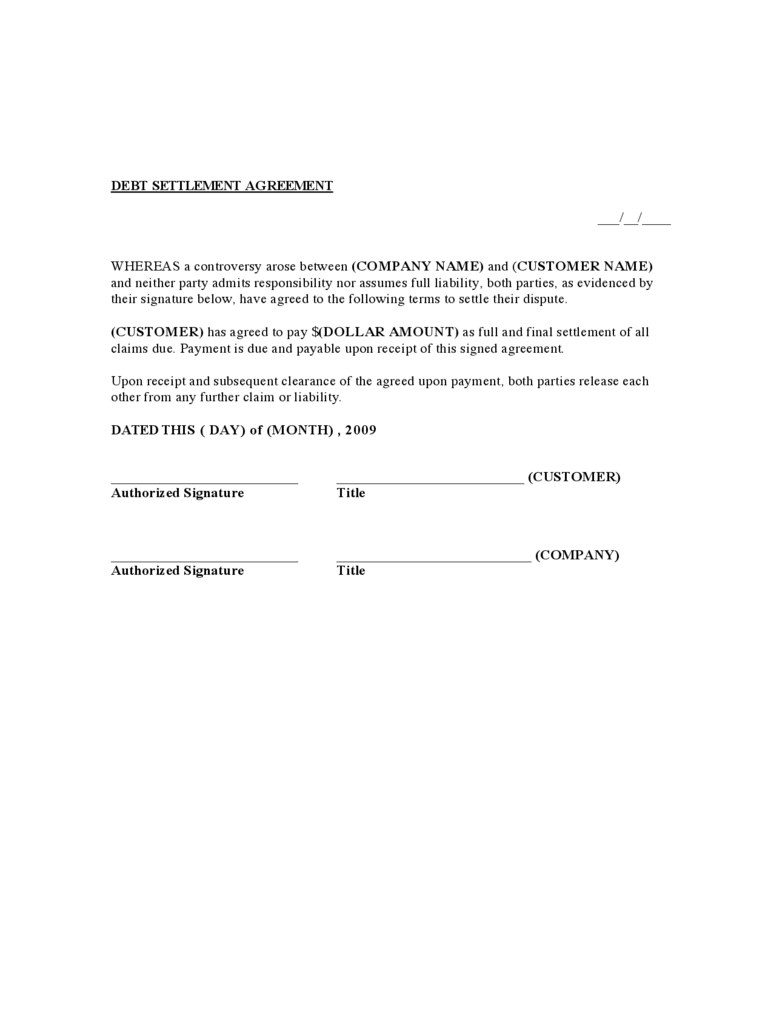 Debt Settlement Agreement Form 3 Free Templates In Pdf