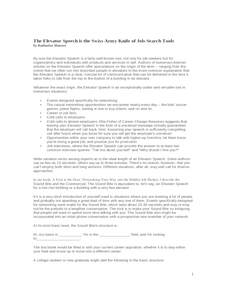 Elevator Pitch Examples 4 Free Templates In Pdf Word