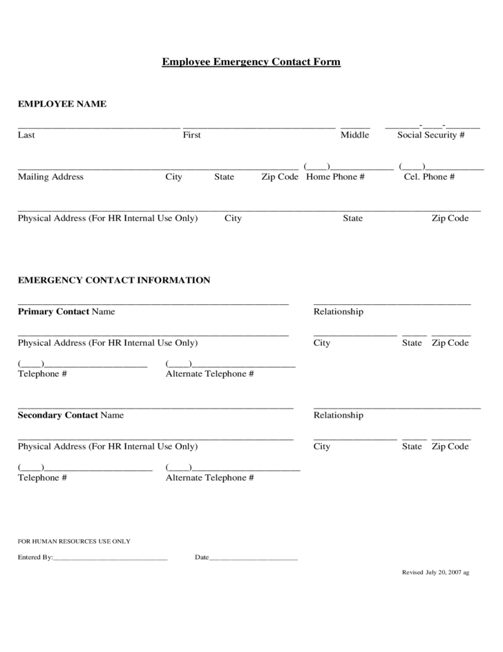 Employee Emergency Contact Template. the table below provides osha ...
