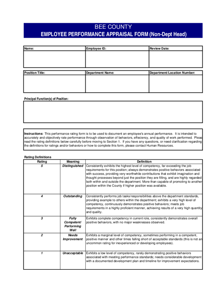 Doc600670 Employee Performance Evaluation Template Employee – Employee Evaluation Template Free