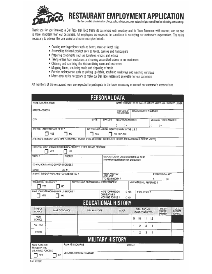 fast food employee application form printable