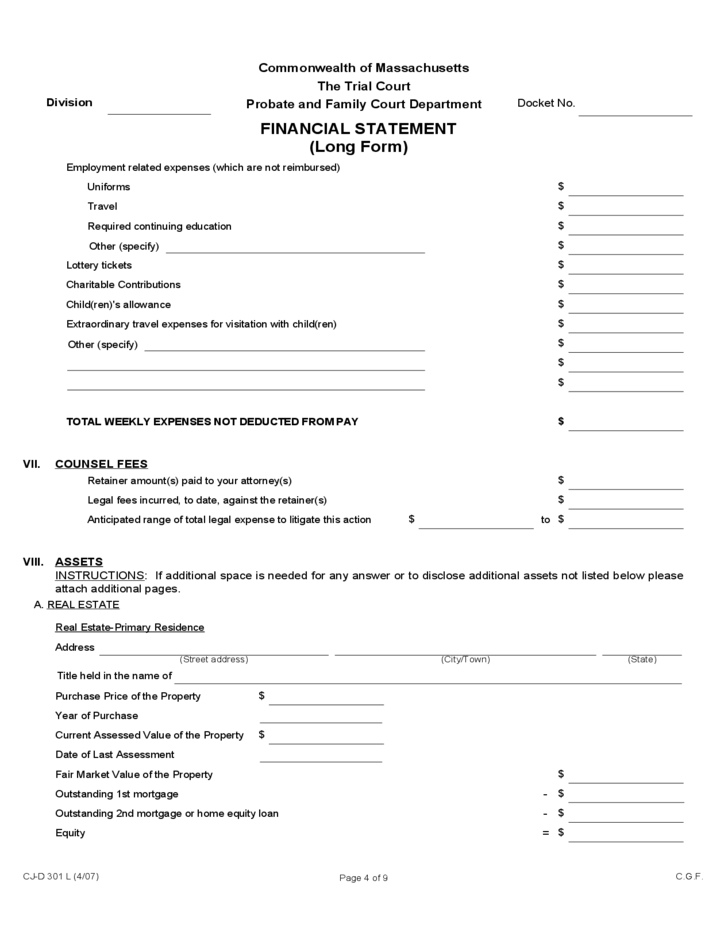 Financial Statement Long Form Massachusetts Free Download