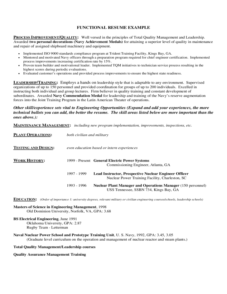 Resume Functional Example. Functional Resume Samples Functional