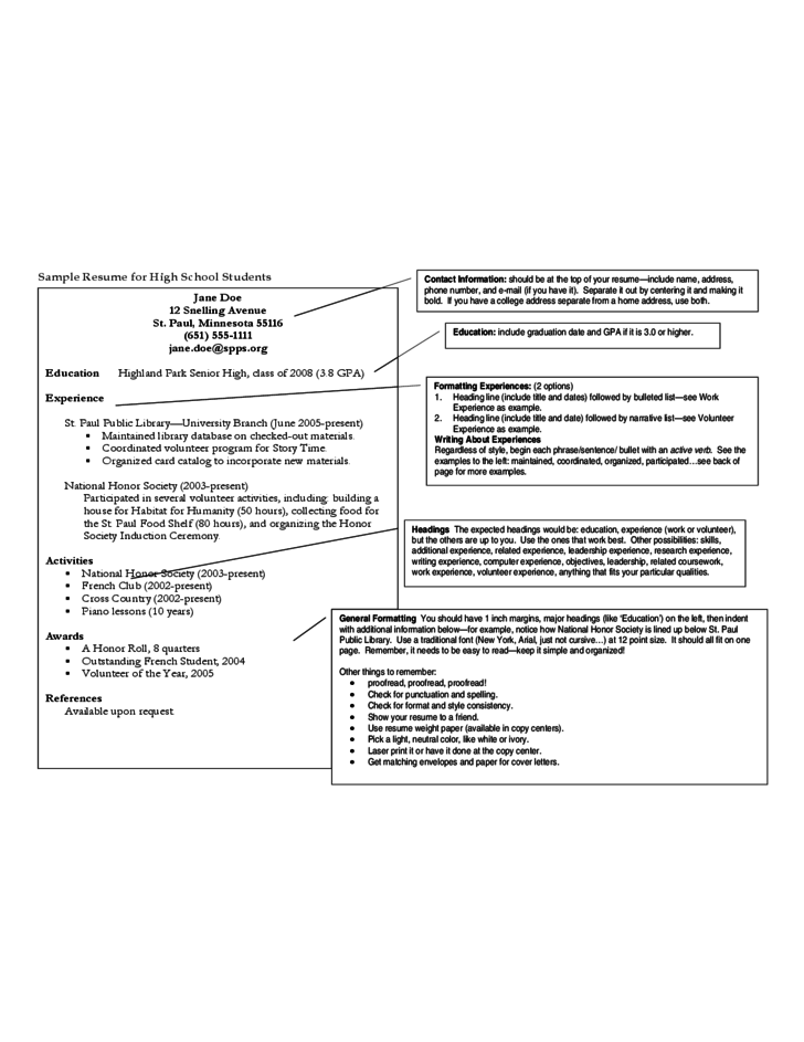 Sample Resume For High School Graduate Student. Sample High School