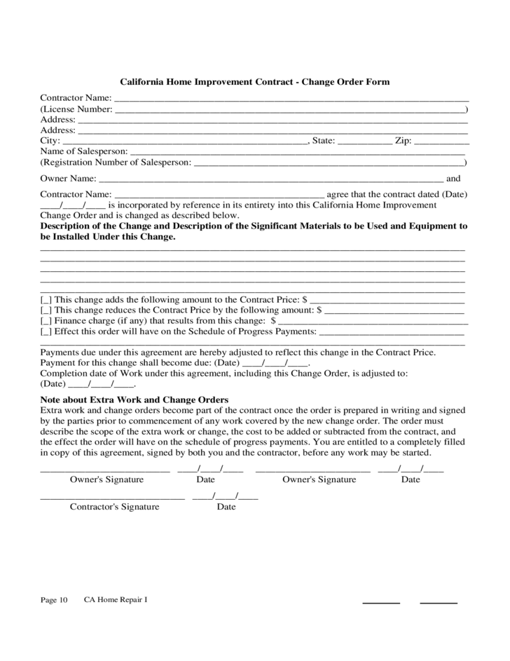 California Home Improvement Contract