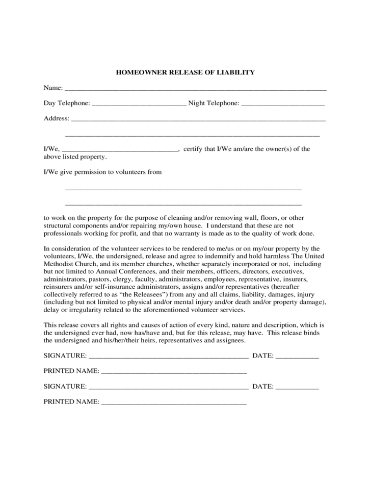 Doc Simple Liability Waiver Release of Liability Form Waiver – Waiver of Liability