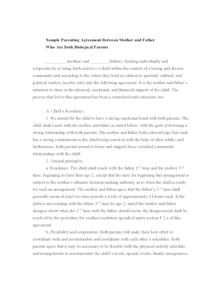 Joint Custody Agreement Template Binding Contracts Contract