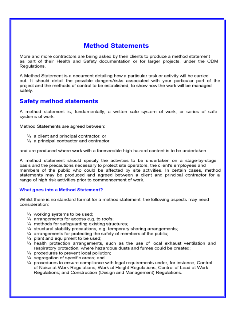 Method Statement Template Free free safe work method statement – Health and Safety Method Statement Template