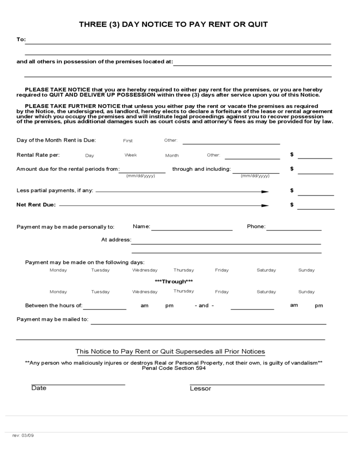 3 Day Notice Template. free idaho affidavit of service of to pay ...