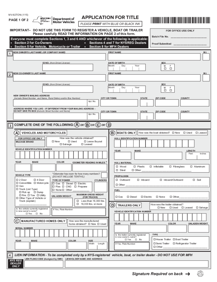 New York Department Of Motor Vehicles Registration Forms ...