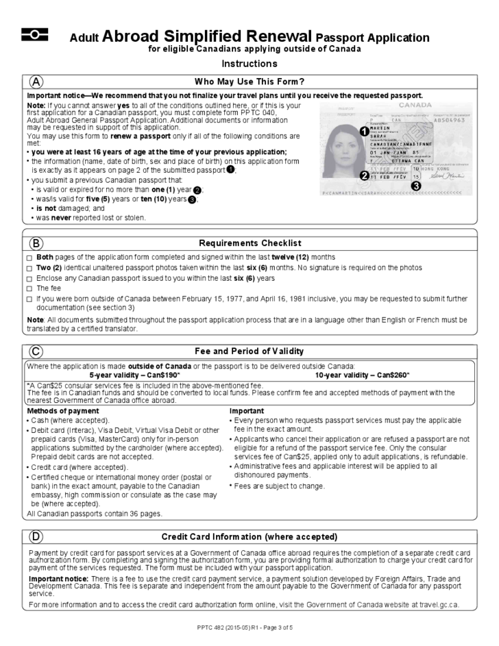 Abroad Passport Renewal Application For Eligible Canadians