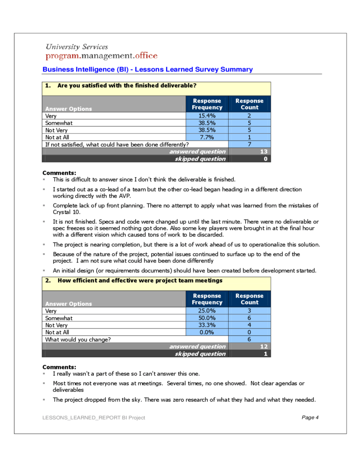 Tutor Worksheets – Lessons Learned Template