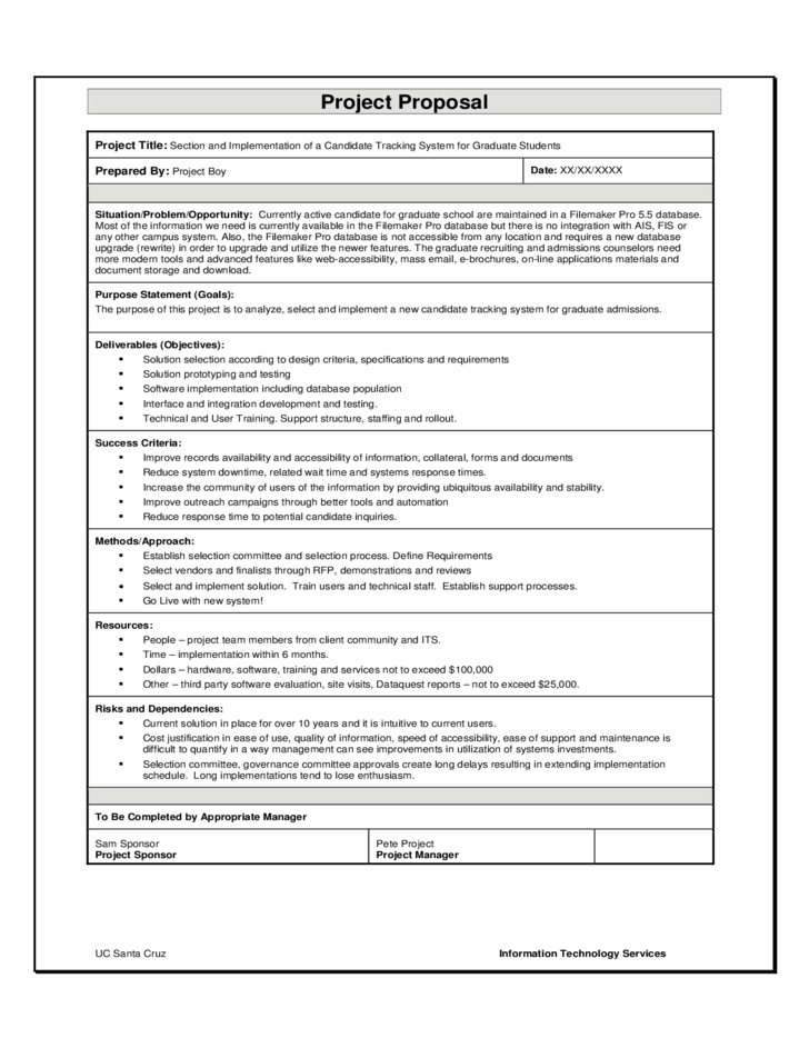 Project Proposal Sample Template. 16 student project proposal ...