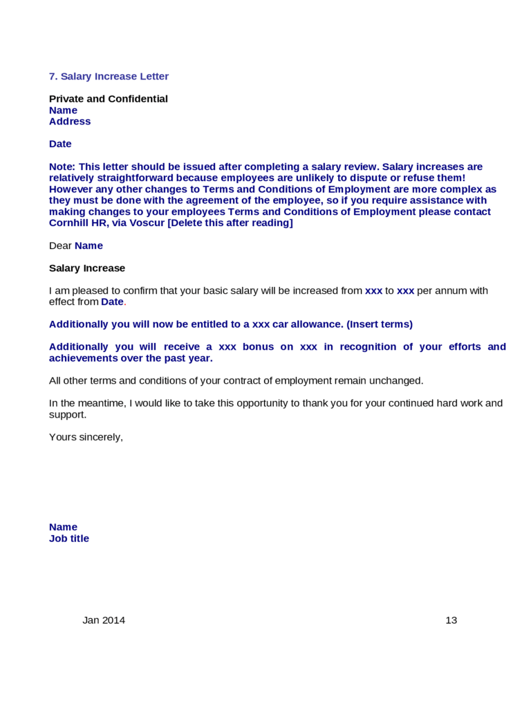 pay increase letter cover letter salary increase hire letter ...