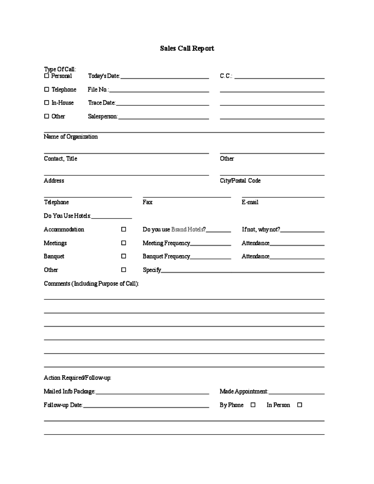 Doc580550 Sample Sales Call Report Template Sample Sales Call – Sales Report Template Free