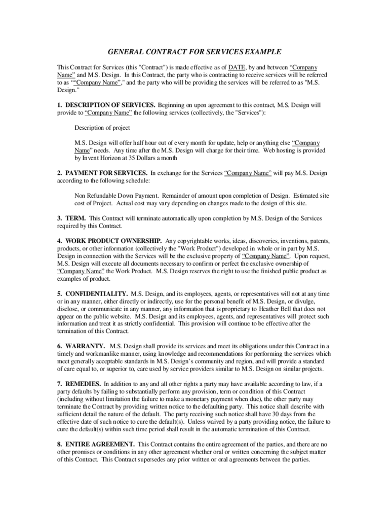 employment contract for a domestic helper recruited from outside – Service Contract Template