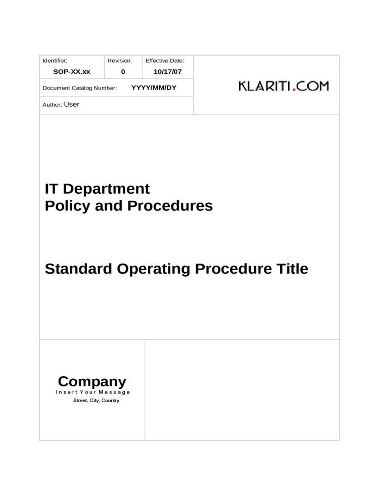 roles and responsibilities sample template this sample template – Free Standard Operating Procedure Template Word