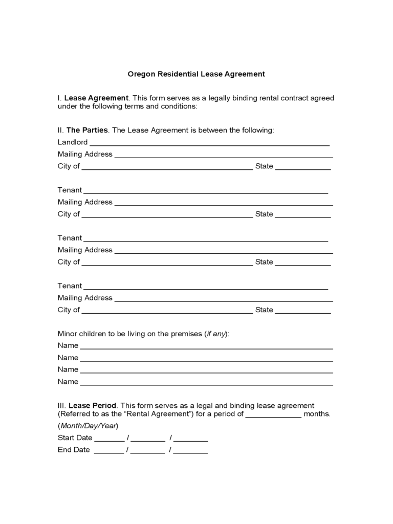 Oregon Rent And Lease Template Free Templates In PDF Word Excel To Print