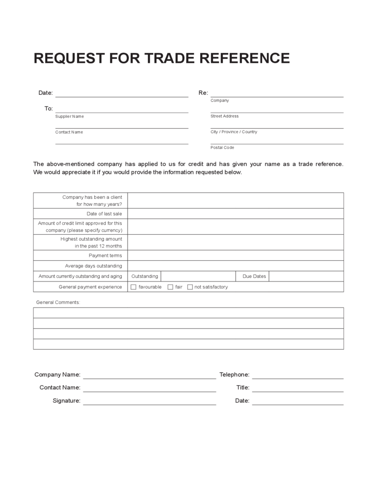 Trade Reference Request Template business trade reference letter – Reference Templates